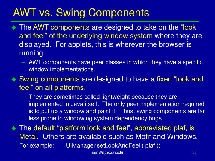 AWT vs. Swing Components