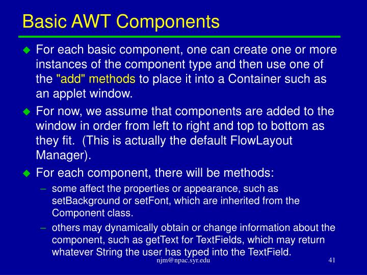Basic AWT Components