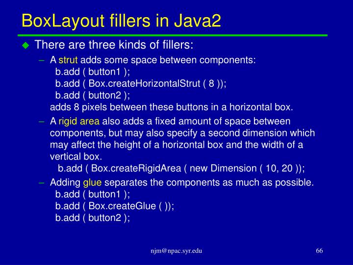 BoxLayout fillers in Java2