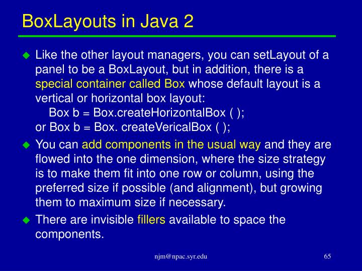 BoxLayouts in Java 2