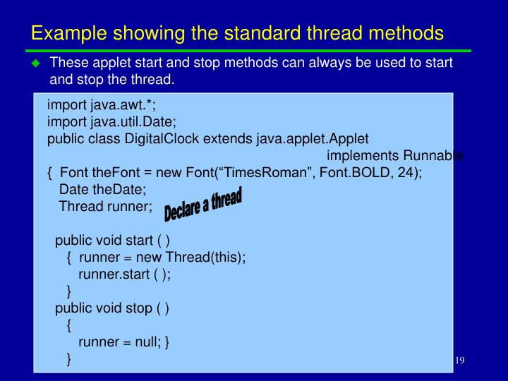 Example showing the standard thread methods
