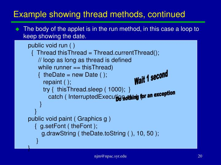 Example showing thread methods, continued