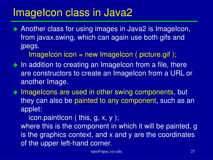 ImageIcon class in Java2