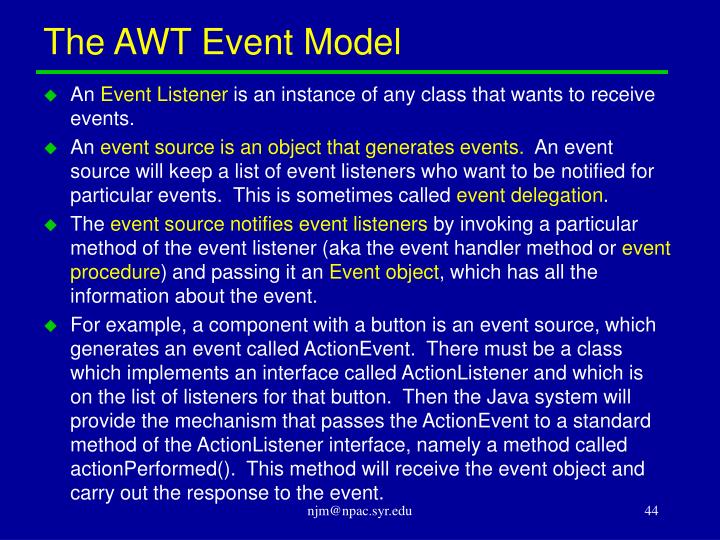 The AWT Event Model