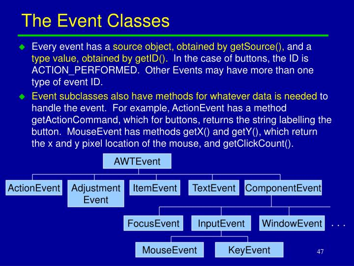 The Event Classes