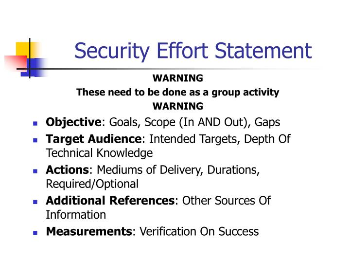 Security Effort Statement