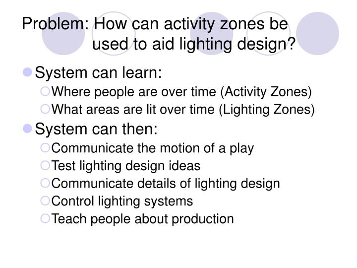 Problem how can activity zones be used to aid lighting design
