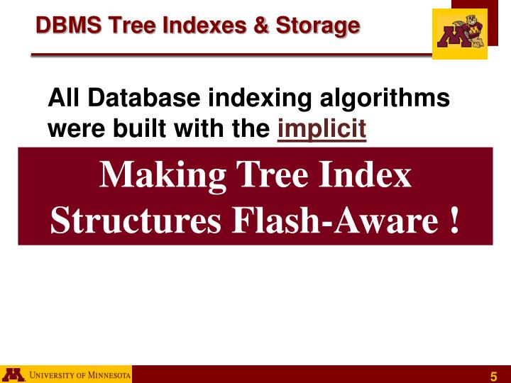 DBMS Tree Indexes & Storage