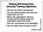 raising self awareness diversity training objectives