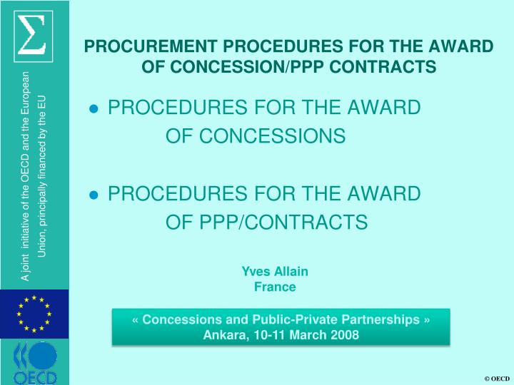 Procurement procedures for the award of concession ppp contracts