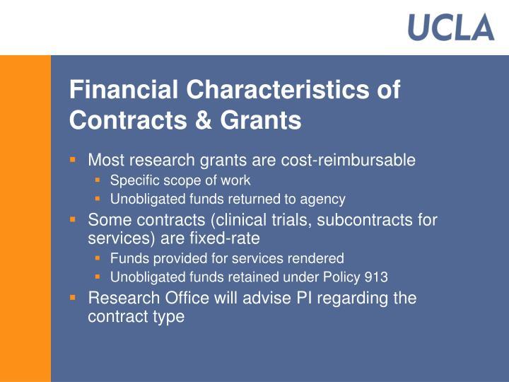Financial Characteristics of Contracts & Grants