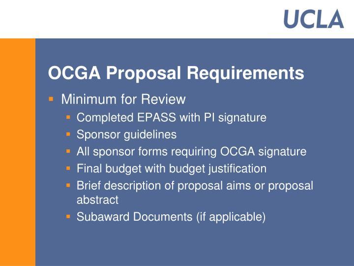 OCGA Proposal Requirements