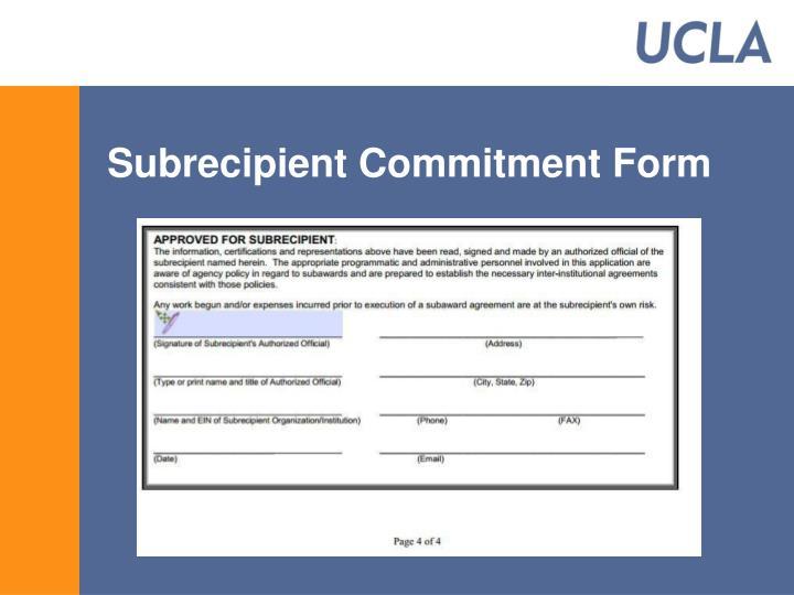 Subrecipient Commitment Form