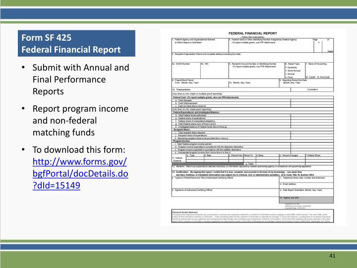 Form SF 425