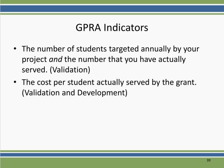 GPRA Indicators