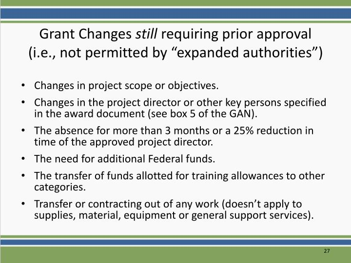 Grant Changes