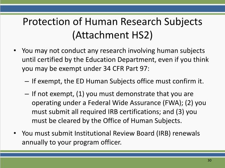 Protection of Human Research Subjects (Attachment HS2)