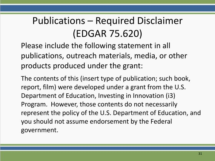 Publications – Required Disclaimer
