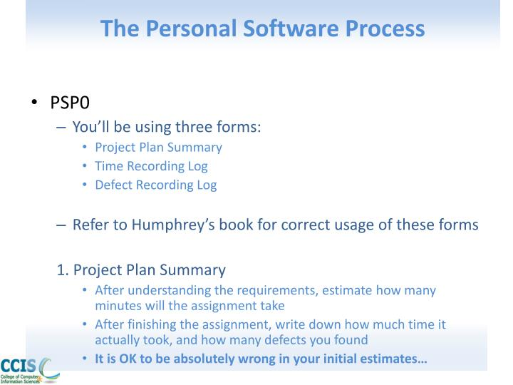 The Personal Software Process