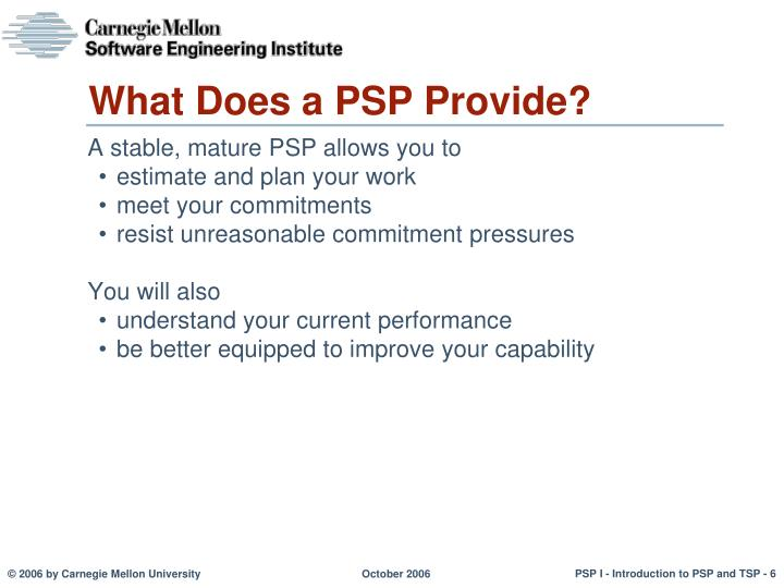 What Does a PSP Provide?