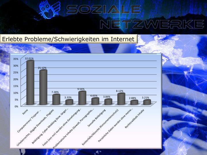 Erlebte Probleme/Schwierigkeiten im Internet