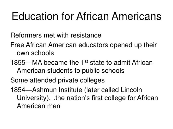Education for African Americans
