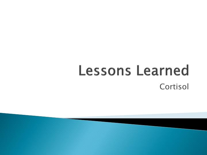 lessons learned n.