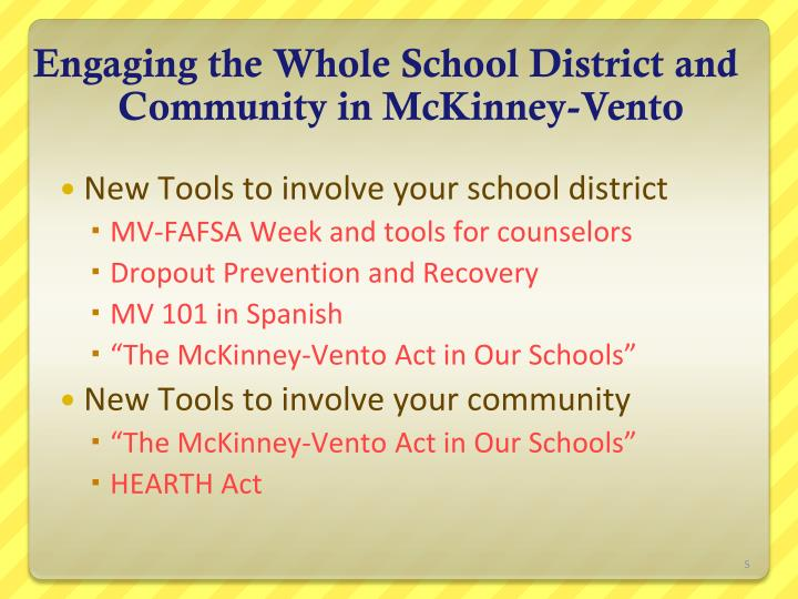 Engaging the Whole School District and Community in McKinney-Vento