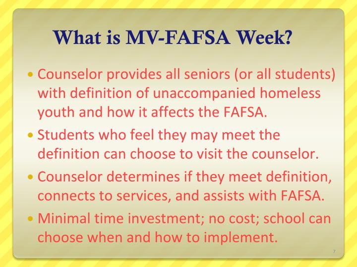 What is MV-FAFSA Week?