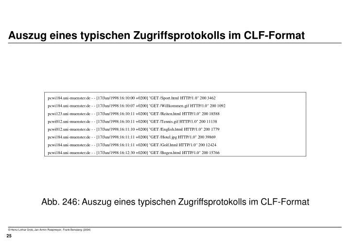 Auszug eines typischen Zugriffsprotokolls im CLF-Format