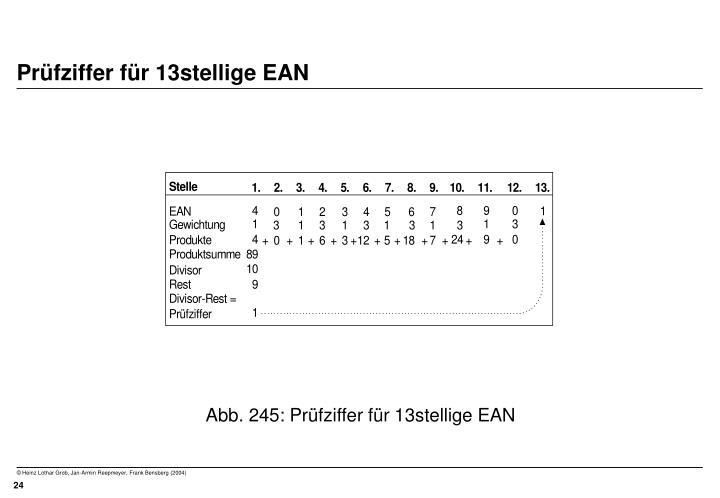 Prüfziffer für 13stellige EAN