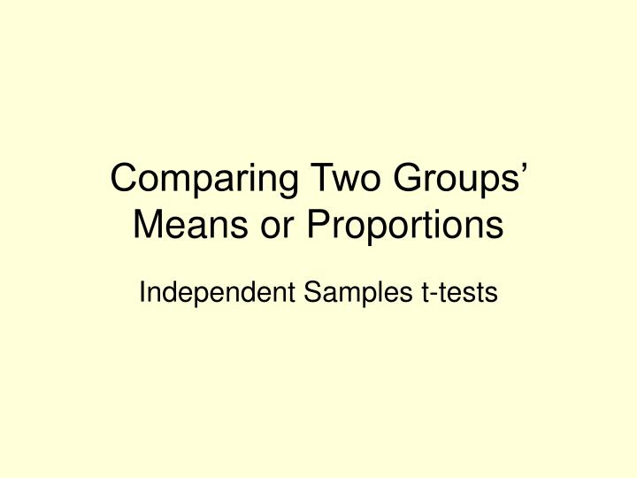 Comparing two groups means or proportions