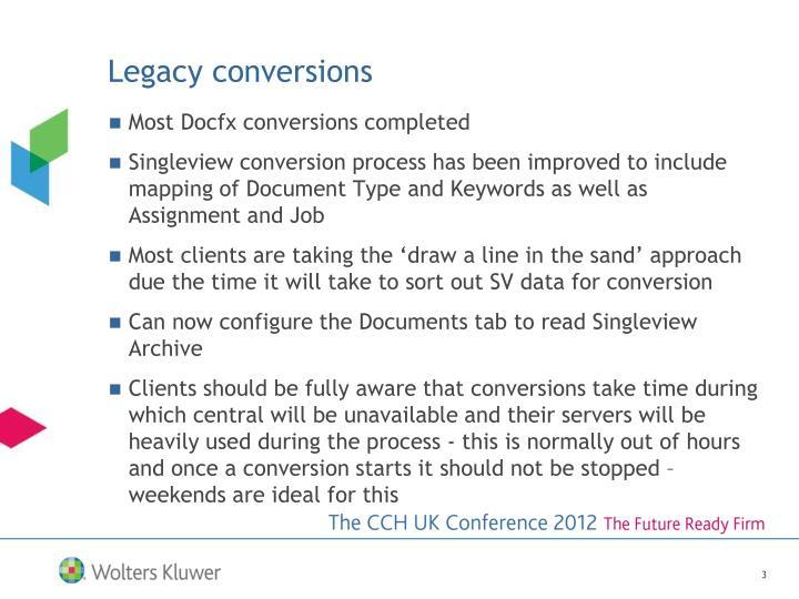 Legacy conversions