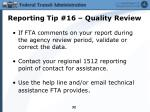 reporting tip 16 quality review