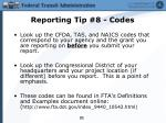 reporting tip 8 codes