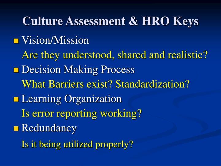 Culture Assessment & HRO Keys