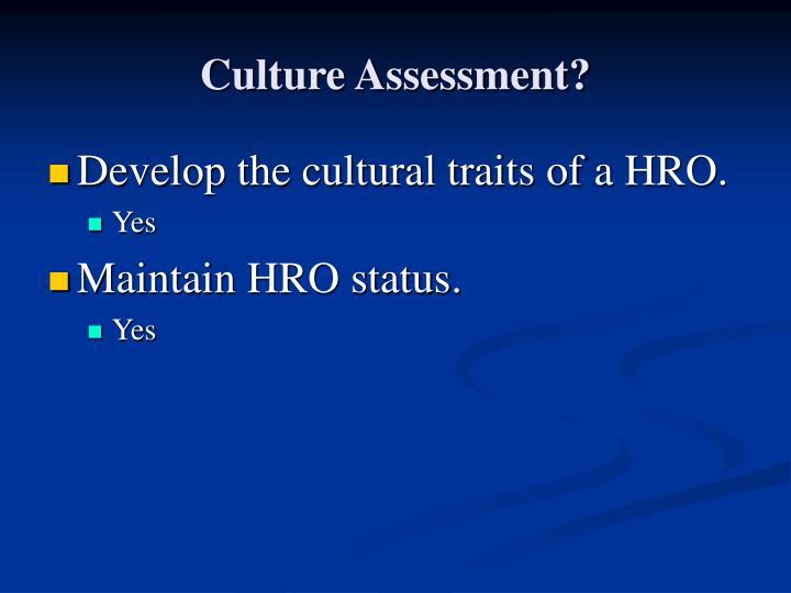 Culture Assessment?