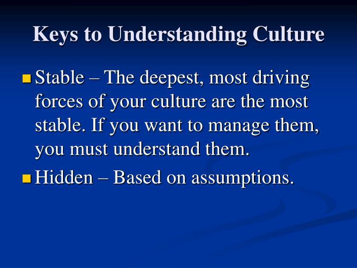 Keys to Understanding Culture