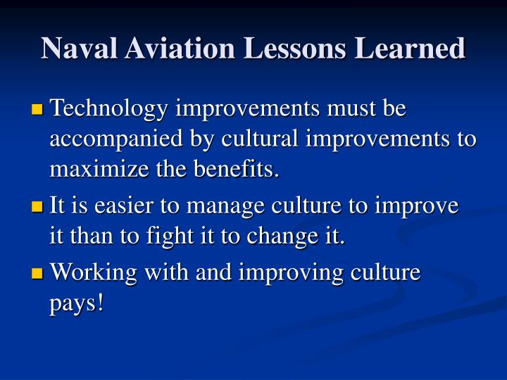 Naval Aviation Lessons Learned