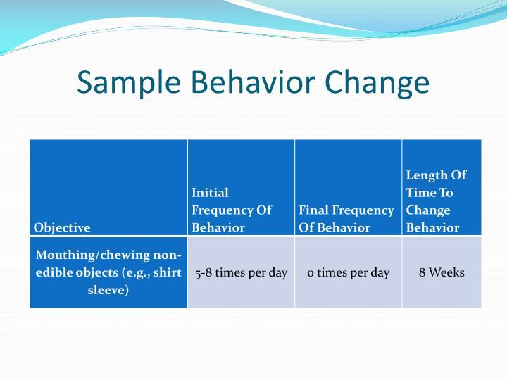 Sample Behavior Change