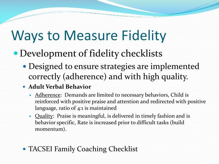 Ways to Measure Fidelity