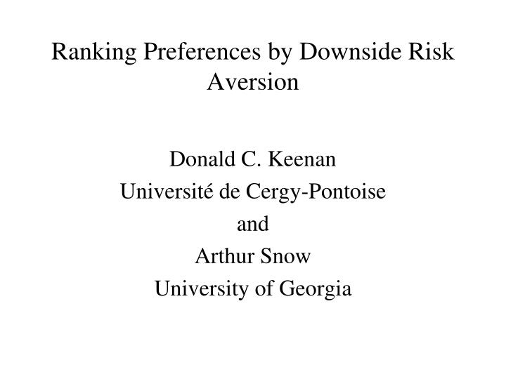 Ranking preferences by downside risk aversion