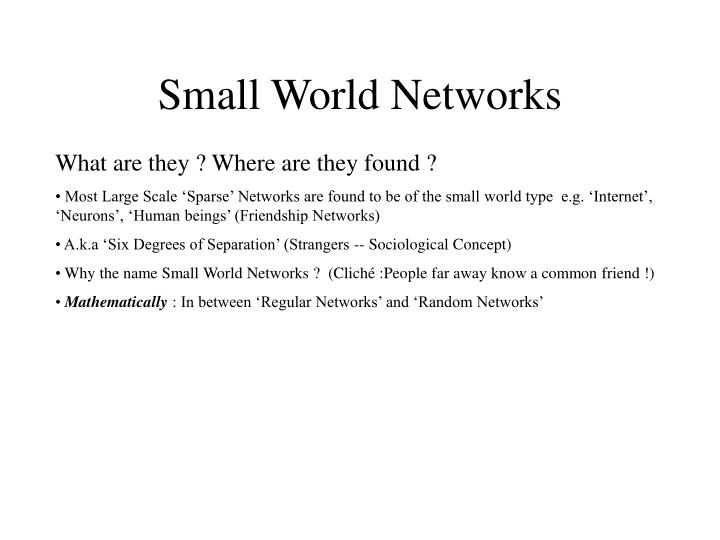 Small world networks1