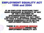 employment equality act 1998 and 2004