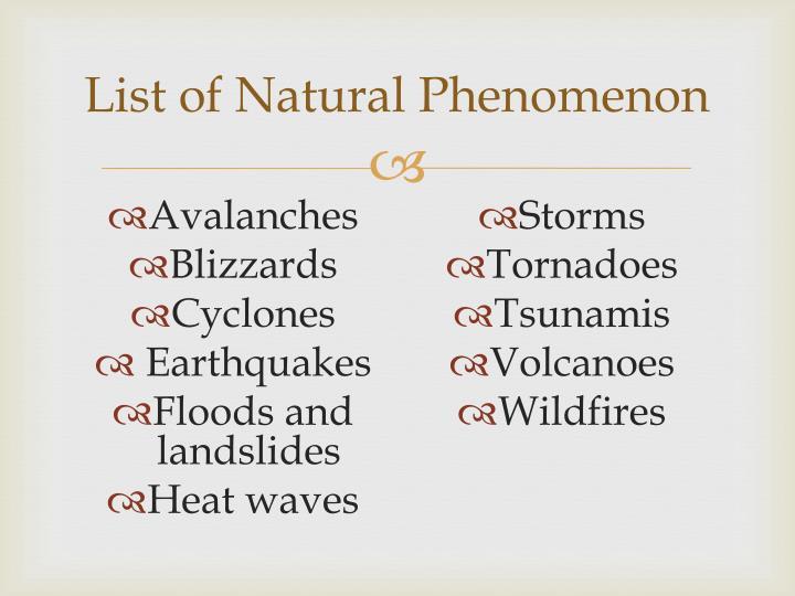 List of Natural Phenomenon