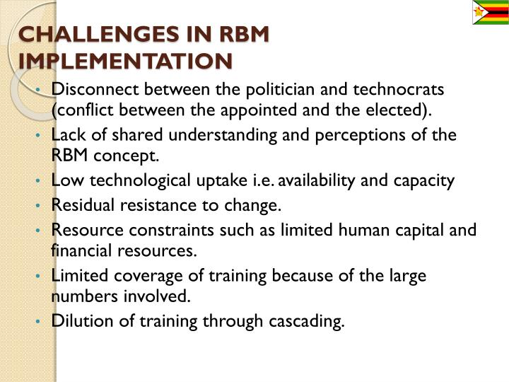 CHALLENGES IN RBM IMPLEMENTATION
