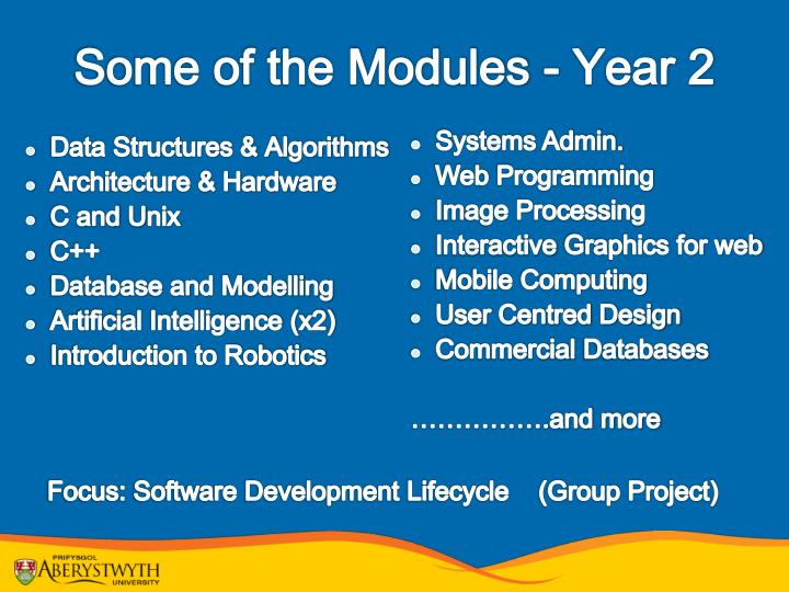 Some of the Modules - Year 2