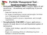 portfolio management tool implementation priorities