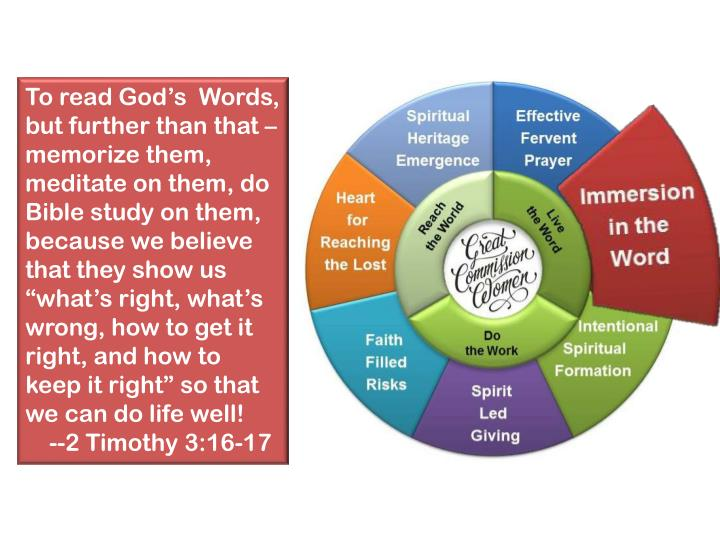"""To read God's  Words, but further than that – memorize them, meditate on them, do Bible study on them, because we believe that they show us """"what's right, what's wrong, how to get it right, and how to keep it right"""" so that we can do life well!"""