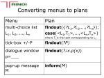 converting menus to plans